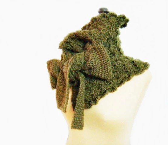 Olive Green Crochet Wrap Neckwarmer Cowl with Ties - faima