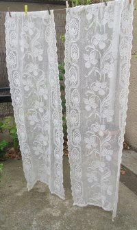 ecru vintage lace curtains cream french by HatchedinFrance ...