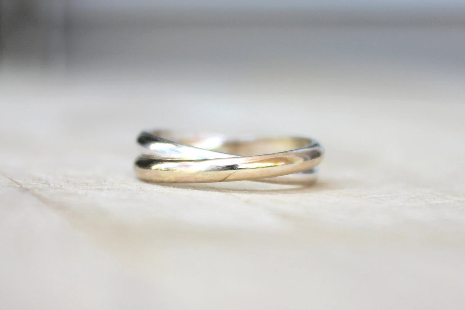 Double band trinity rings gold and silver bands two tone
