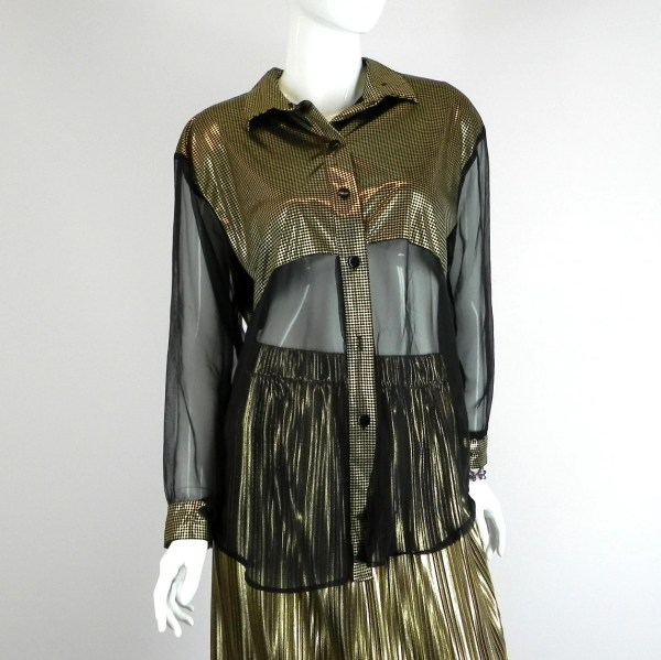 Gold Lame And Sheer Black Shirt Vintage 1980s Size Medium