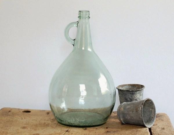 Vintage Green Glass Wine Jug