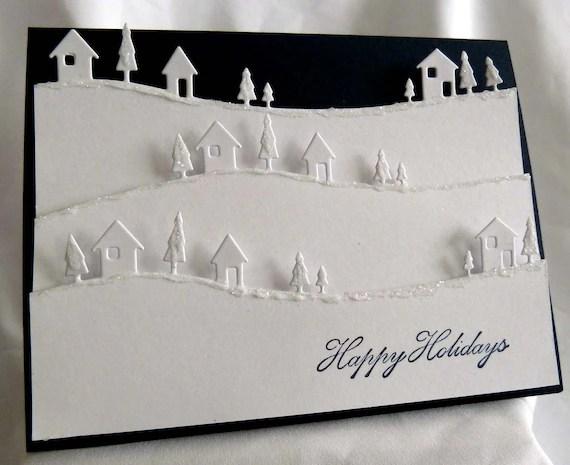 White Amp Navy Blue Christmas Card