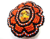 Beaded Orange Hair Clip - Featuring Steampunk Scarab Beetles - MegansBeadedDesigns