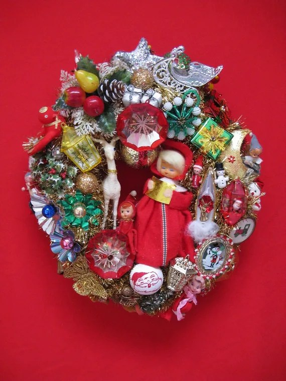 "christmas kitsch wreath red and gold vintage elements 21 "" by 19 "" handcrafted - rivertownvintage"