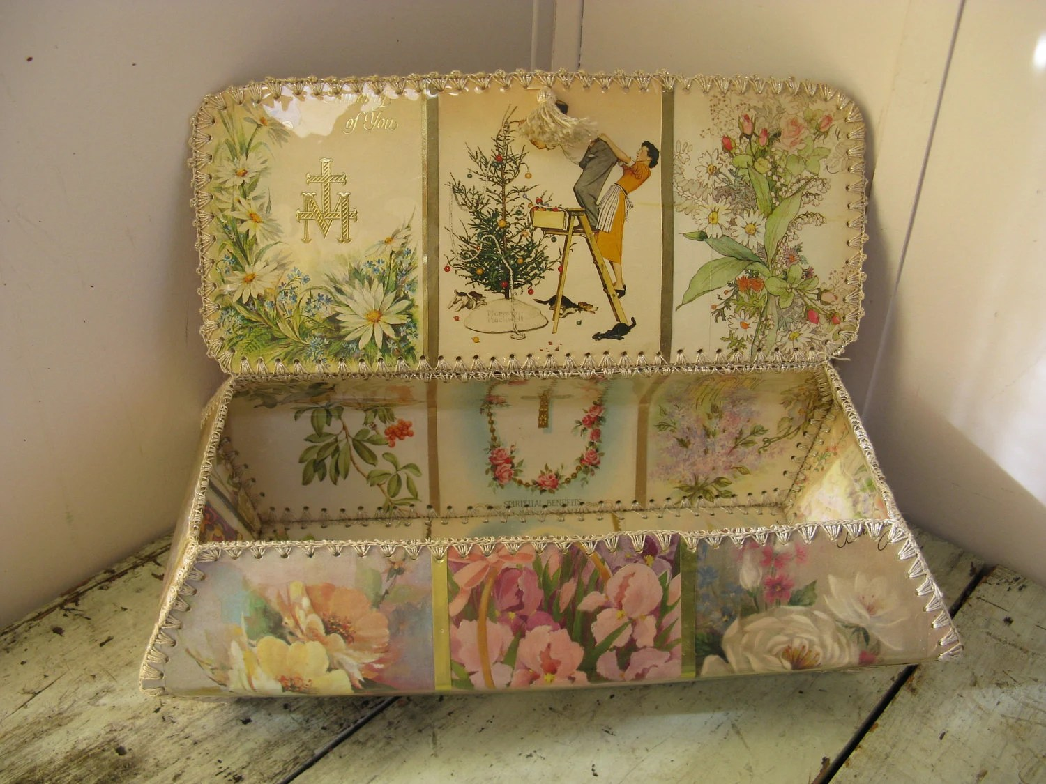 Victorian Style Card Basket Hand Made Vintage By