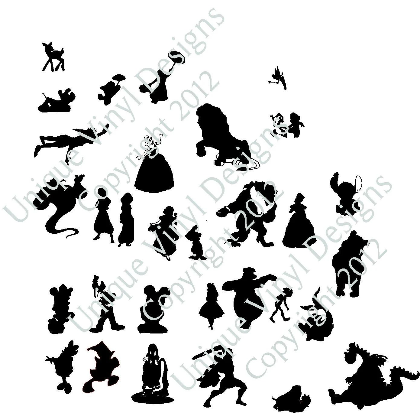 Disney silhouetttes by uniquevinyldesigns on Etsy