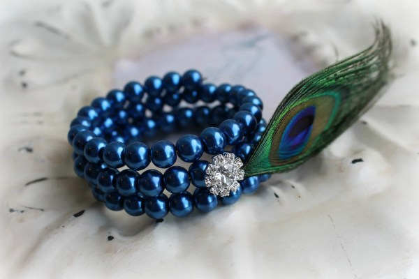 Bridal Jewelry Bracelet Royal Blue Pearl Peacock Feather