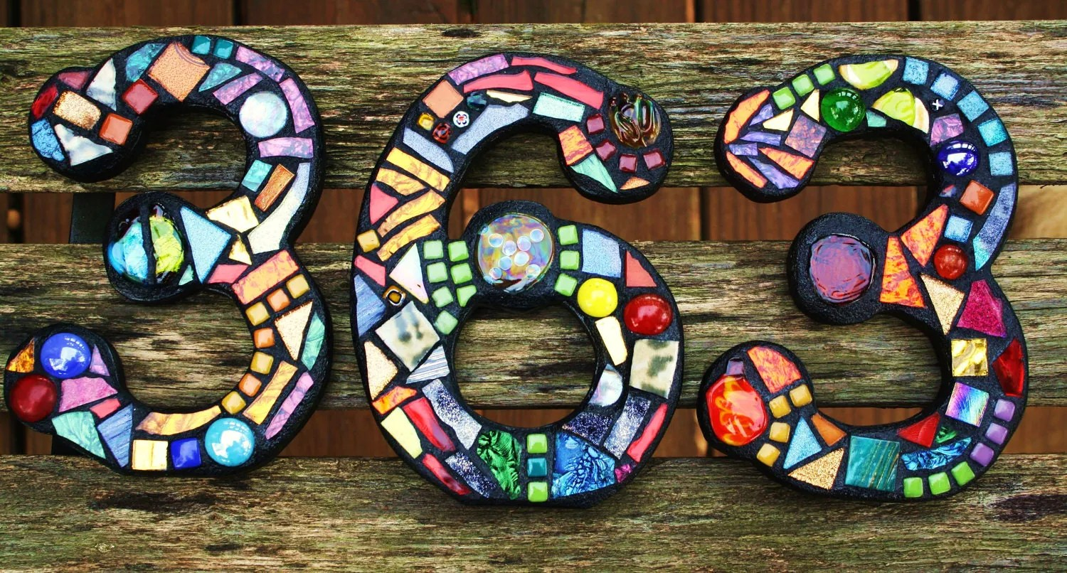 CUSTOM Made Stained Glass Mixed Media Mosaic House Numbers