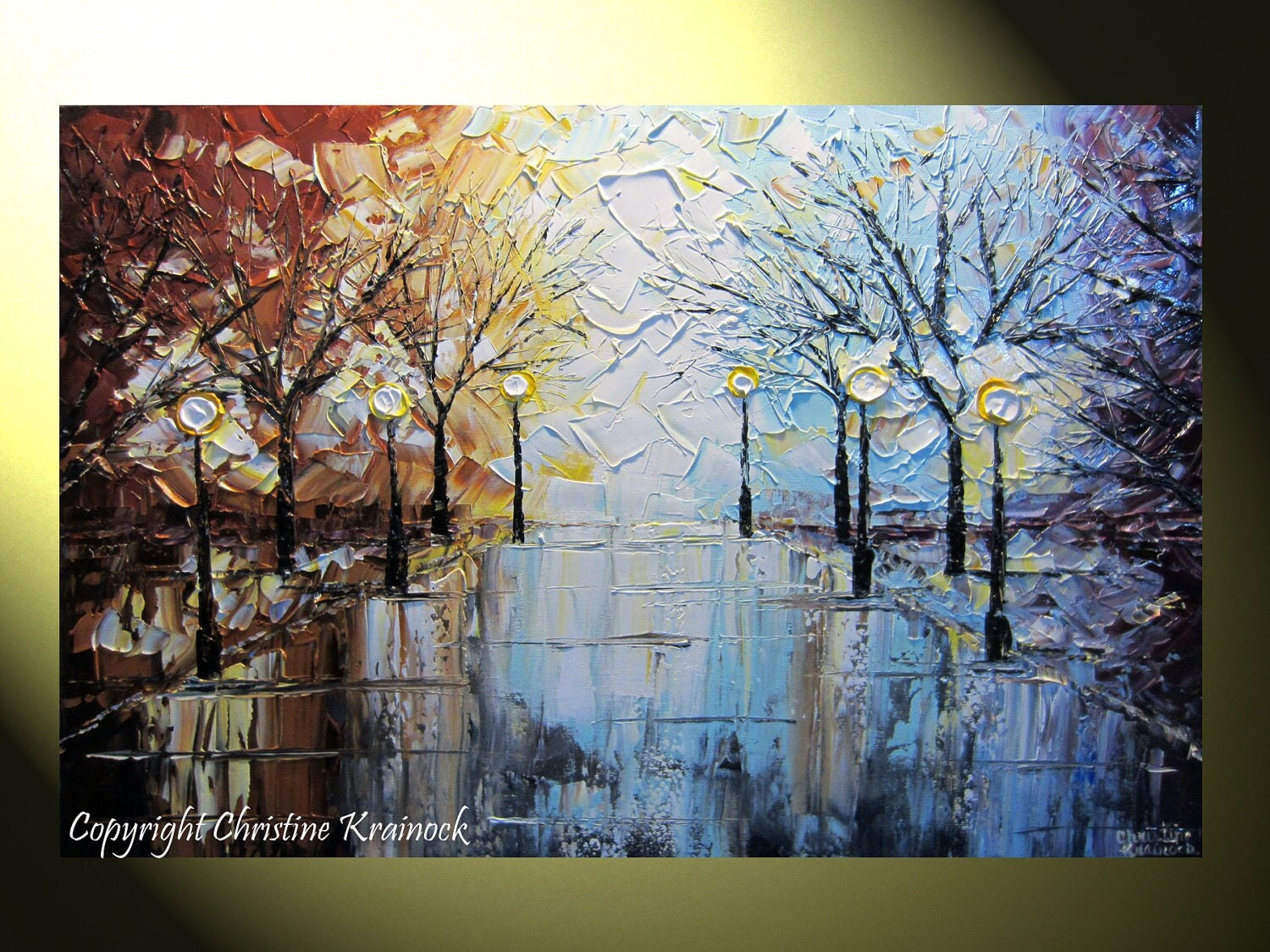 Original Art Abstract Painting Landscape Large Textured Trees