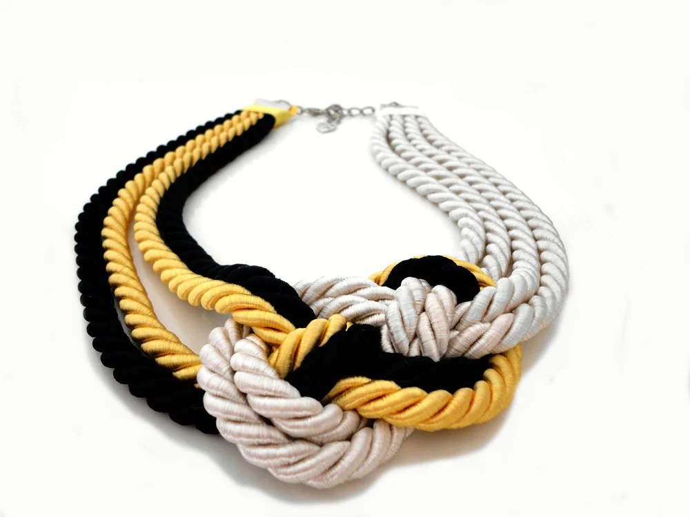 Ivory Yellow Black Nautical Sailor's Knot Rope Infinity Necklace - ChichiKnots