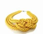 CIJ SALE - Yellow Rope, Nautical Statement Necklace - ChichiKnots