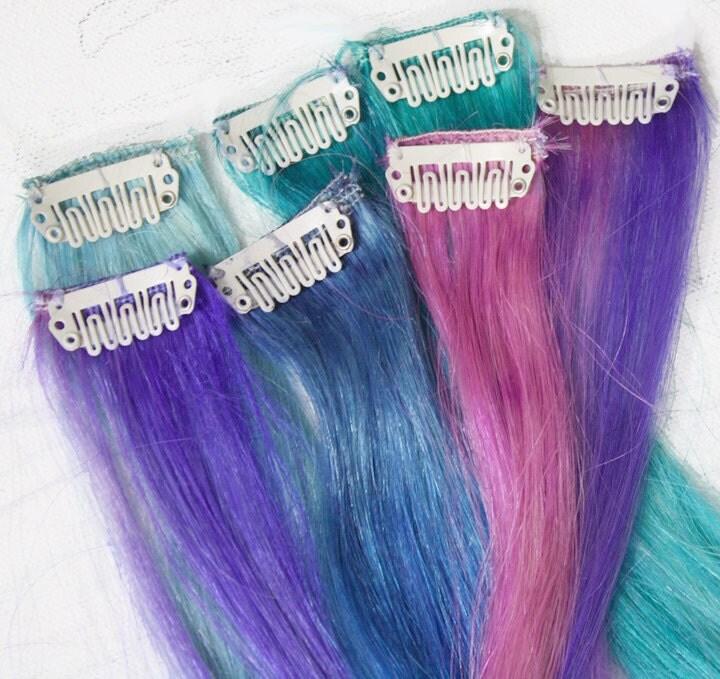Pastel Tie Dye Tip Extensions Blue Hair Rainbow Hair