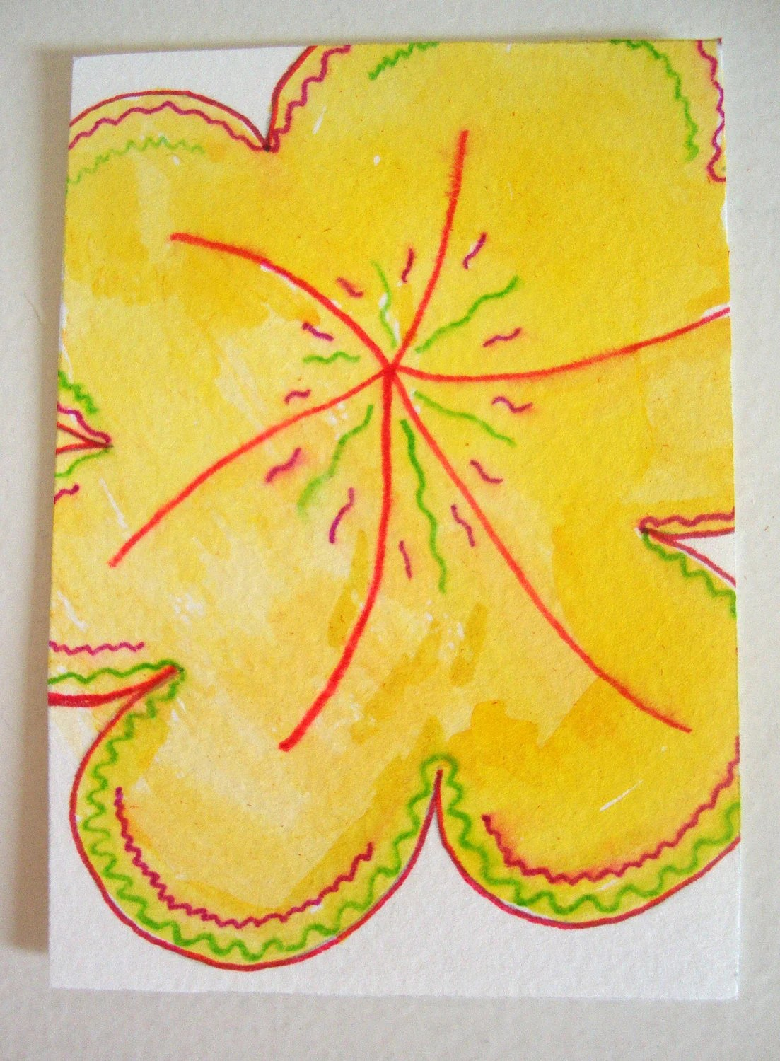 ACEO Original Watercolor Illustration - Power of the Sun - One of a Kind