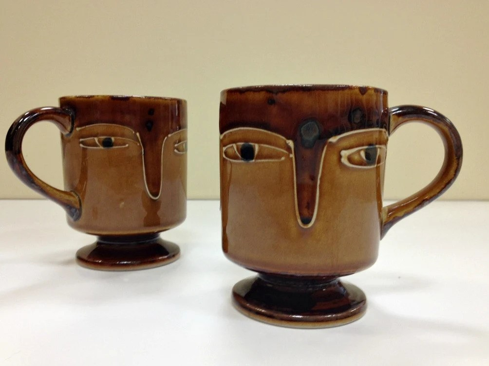 kitchen vessels set extra deep sink face mugs pottery coffee brown and tan