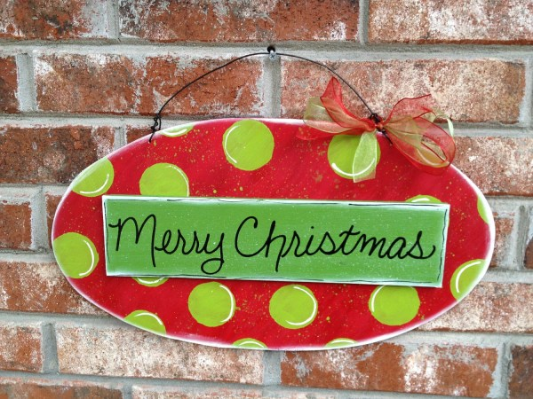 Whimsical Red And Green Merry Christmas Prop Sign