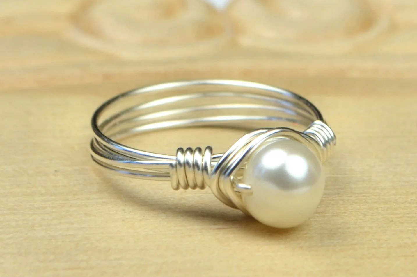 Freshwater Pearl Ring Sterling Silver Yellow or Rose Gold