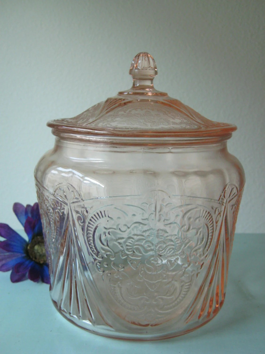 Pink Depression Glass Biscuit Cookie Jar with Lid by