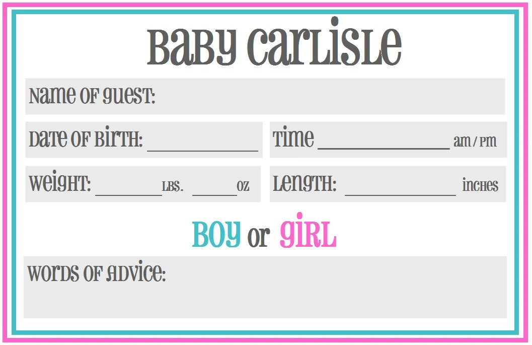 Baby Shower Gender Guessing Game
