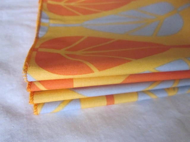 Cloth Napkins, Dinner Napkins, Kid Napkins, Lunch Box Napkins - Set of 4, orange and gray
