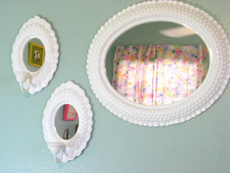 Vintage Wall Mirror Sconce Set White Hobnail Burwood Shabby