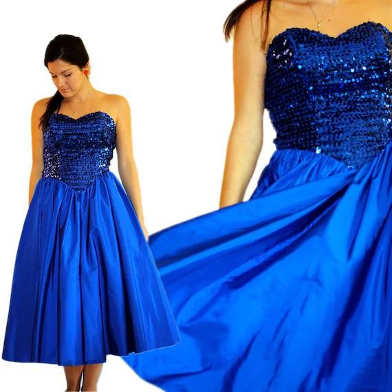 SALE 1980s Sequin Prom Dress Vintage Blue Sparkle Electric