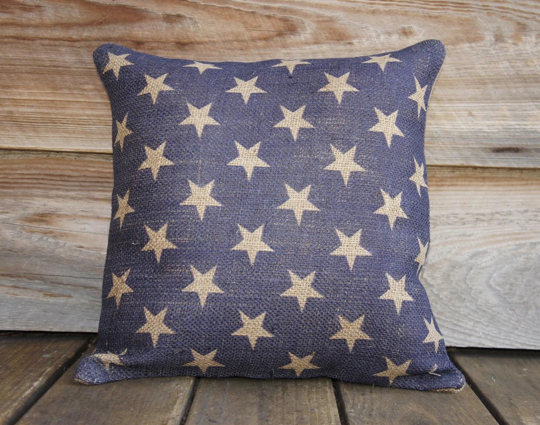 Burlap Pillow of Blue Stars Cushion Throw Pillow