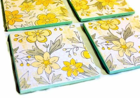 """Christmas in July Sale Tile Coasters: """"Build Me Up Buttercup"""" Set of 4"""