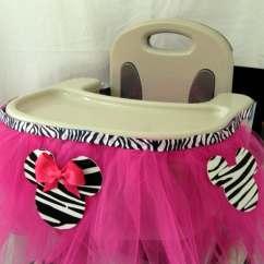 High Chair Tutu Flip Convertible Sleeper Zebra Minnie Mouse Highchair Decorationcustomizable