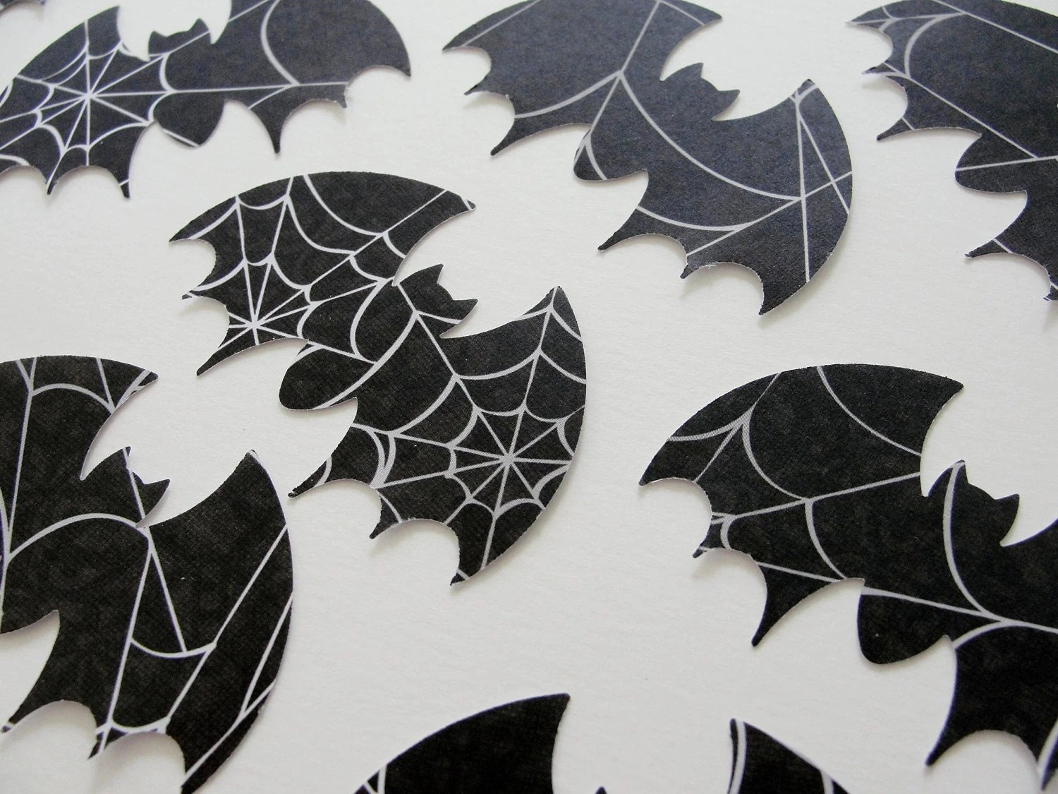 Black And White Bat Halloween Cut Outs Spider Web Design