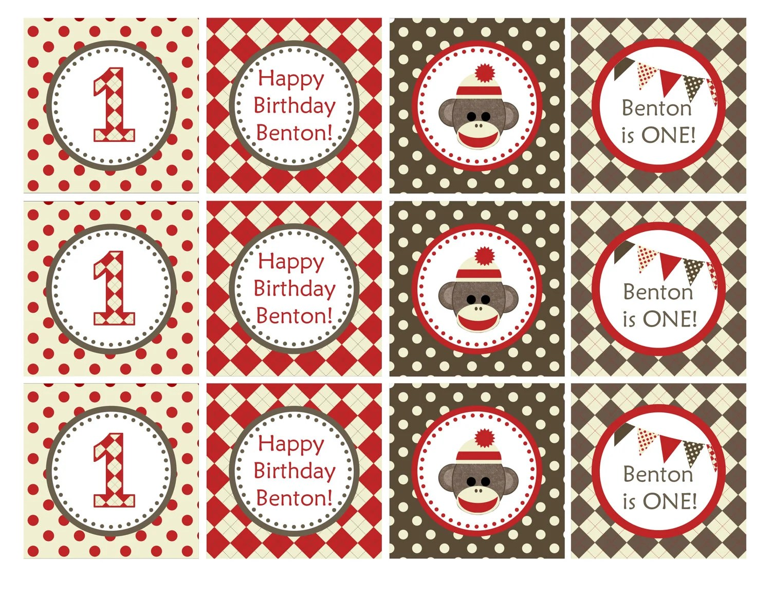 PRINTABLE: Sock Mokey Cupcake Toppers 2 Party Circle