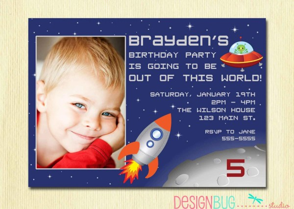Boy 5th Birthday Party Invitations