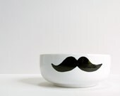 Mustache Bowl - Black Mustache Hand Drawn on White Bowl - RevellHouse