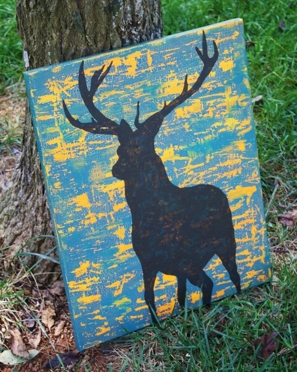Deer Silhouette Painting On Canvas