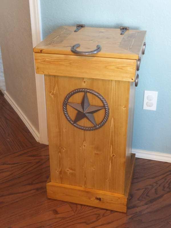 Rustic Wood Trash Cans