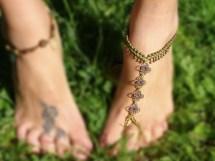 Macrame Barefoot Sandal Green Anklet Flower Pendants Yoga