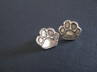 Sterling silver paw print stud earrings. Paw print post