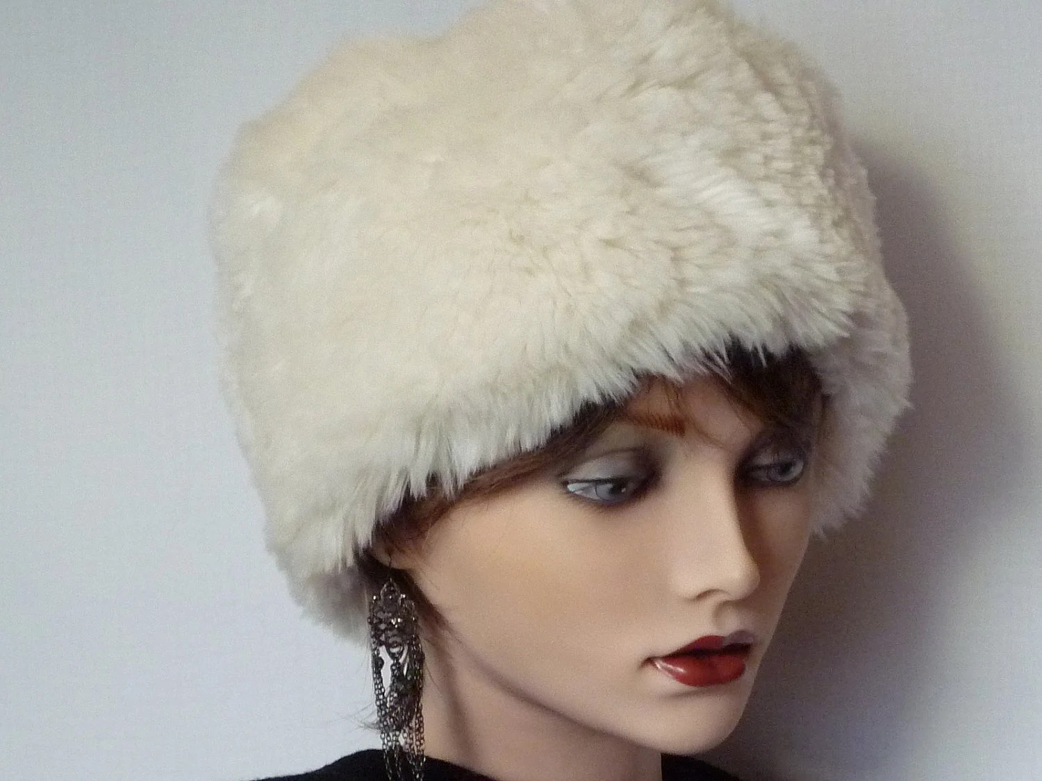 White Faux Fur Snow Hat