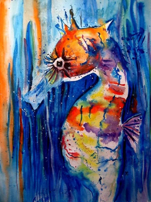 Original Art Work Seahorse Watercolor Painting Fine