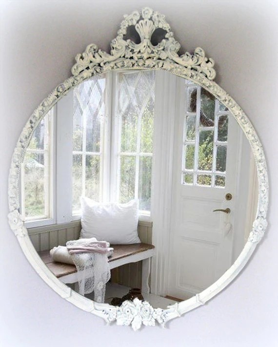 Large Vintage Shabby Chic Mirror Cottage Chic French Country