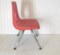 Mid Century Child's Chair Vintage Salmon Pink Molded