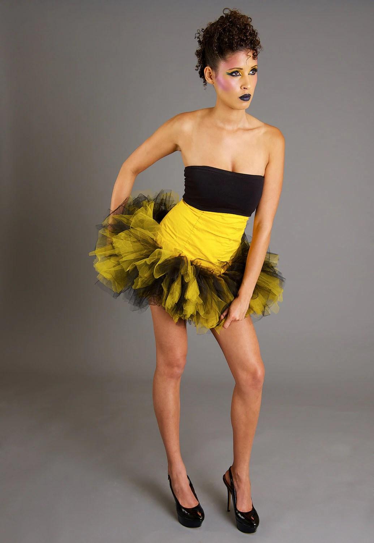 Adult tutu Black and Yellow Bumble Bee inspired Trashy micro