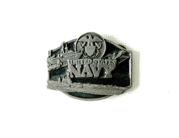 1987 Navy Belt Buckle Pewter And Emerald Green Siskiyou
