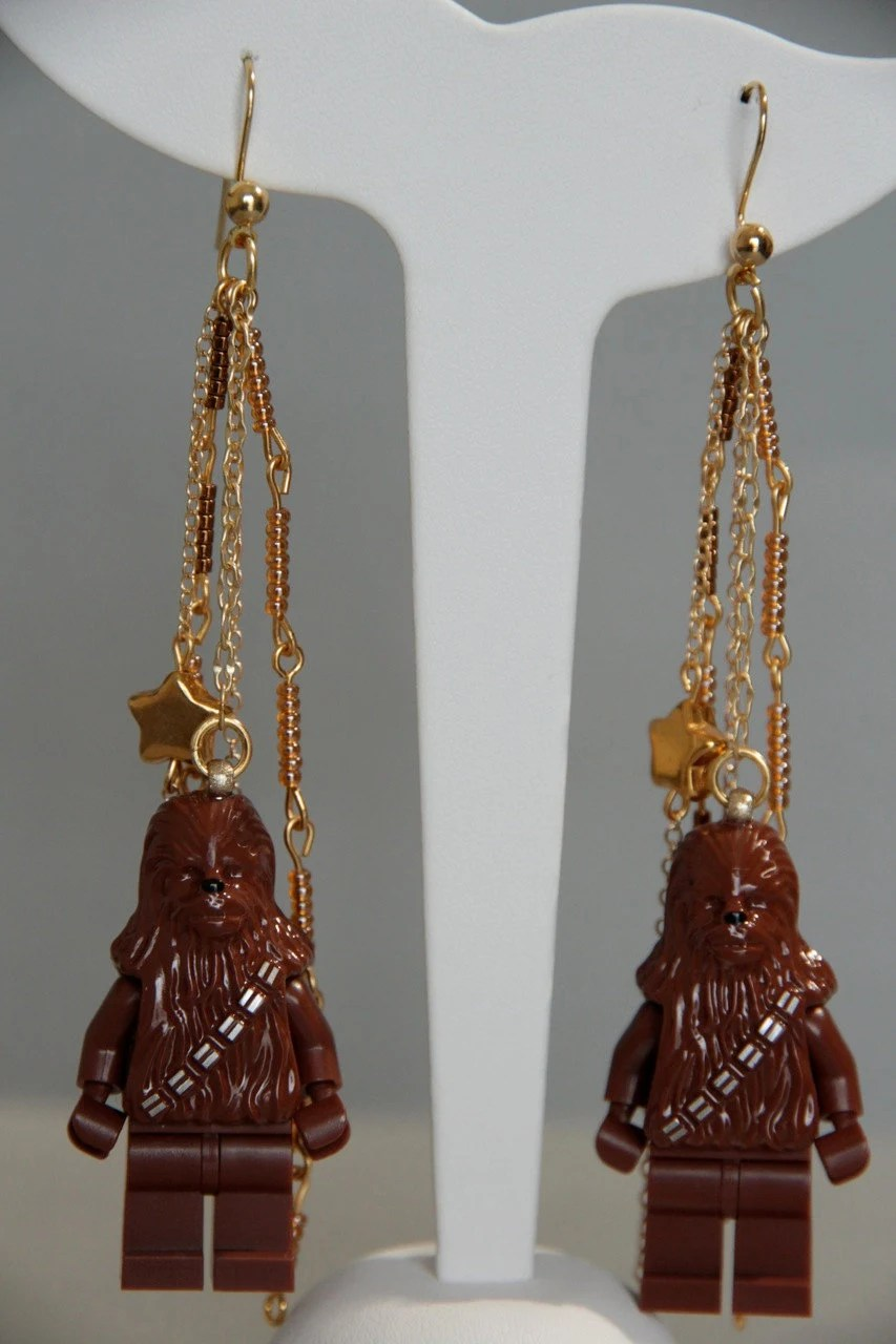 Chewbacca Lego Earrings - Statement Drop Earrings with Beadwork and Gold Chains