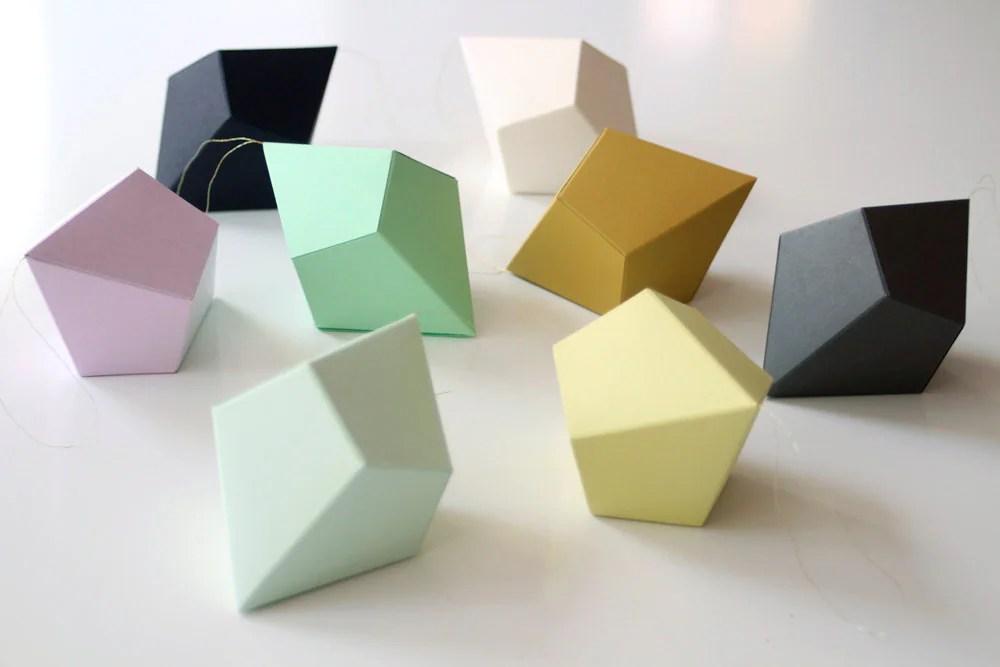 DIY Geometric Paper Ornaments Set of 8 Paper Polyhedra