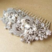 Vintage Style Bridal Hair Comb Victorian Art Deco Rhinestone