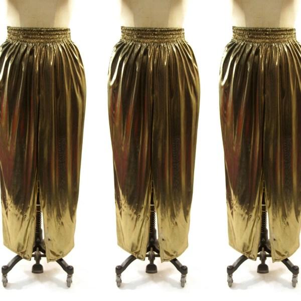 80s Gold Lam Harem Pants Sheer Metallic Shimmer