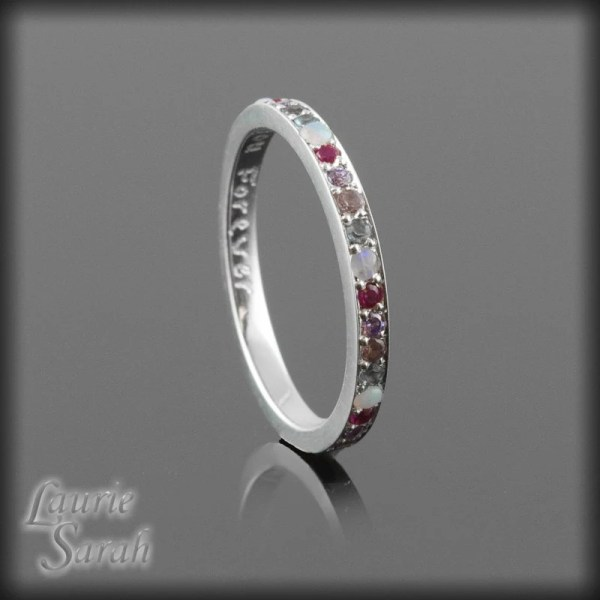 Mother' Ring Simulated Birthstone 14k White Gold