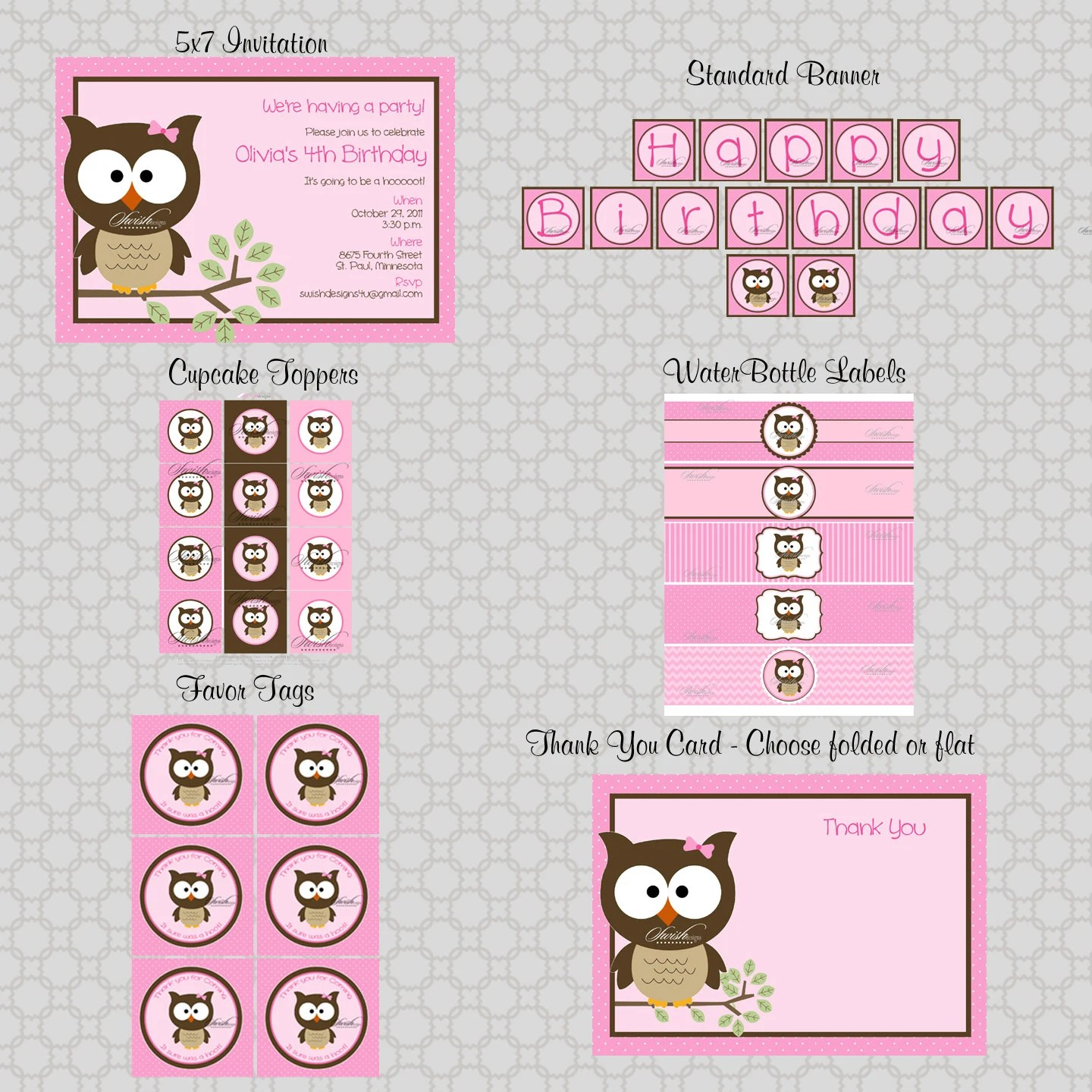 Owl Birthday Party Wide Eyed Owl Printable Diy Includes