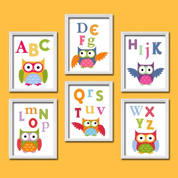 Items similar to OWL Wall Art CANVAS or Prints Nursery