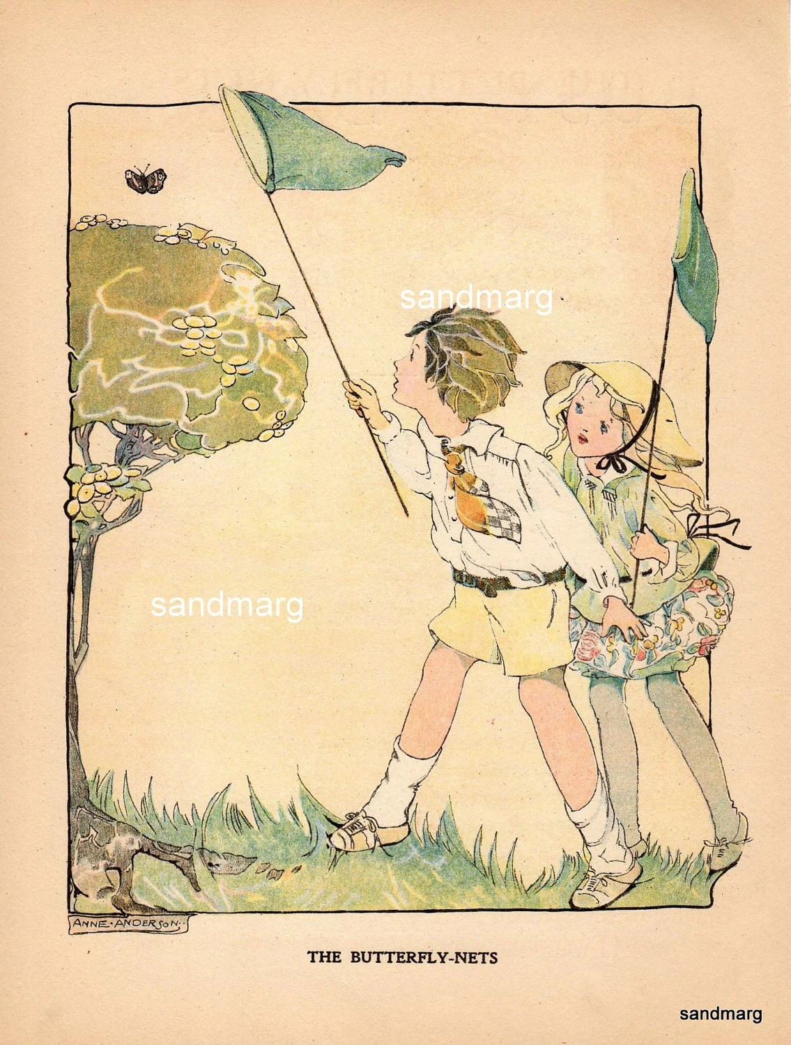 Vintage Storybook Illustration 1921 The Butterfly Nets Anne
